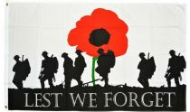3ft x 2ft Polyester Lest We Forget Army Soldier Poppy Remembrance Flags 100D